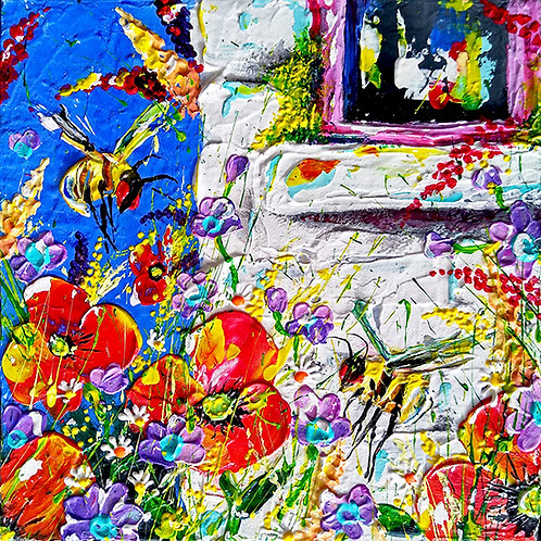 'Bumble Bee Cottage #1' - Bumblebees in a white stone cottage garden of poppies
