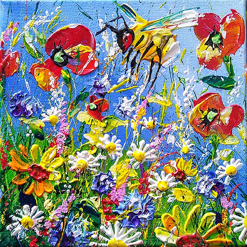 'Wildflower Meadow #1' - Bumblebee and red poppies, wildflower original art
