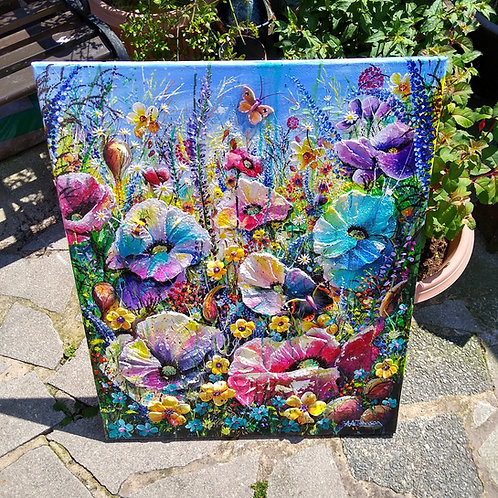 'Meadow Fantasy' - Large,  floral sculpture artwork of a colourful  meadow