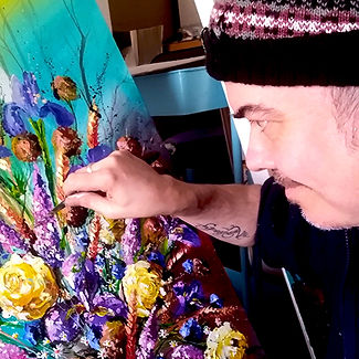 artist creating floral fine art paintings, UK