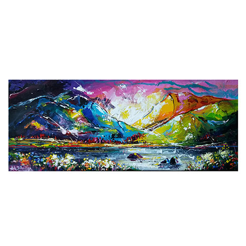'Cumbrian Kick' - A colourful painting of the English lake district scenery