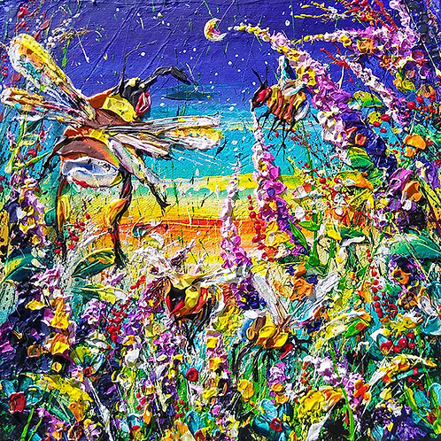 'Carnival Night #3' - Colorful and fun painting of bees and flowers