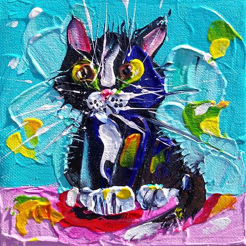 'Scruffy kitten #1' - Fluffy black and white kitten artwork