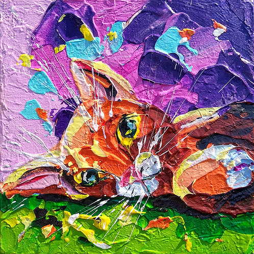 'Who woke Tango?' - Abstract ginger cat painting, pallet knife art