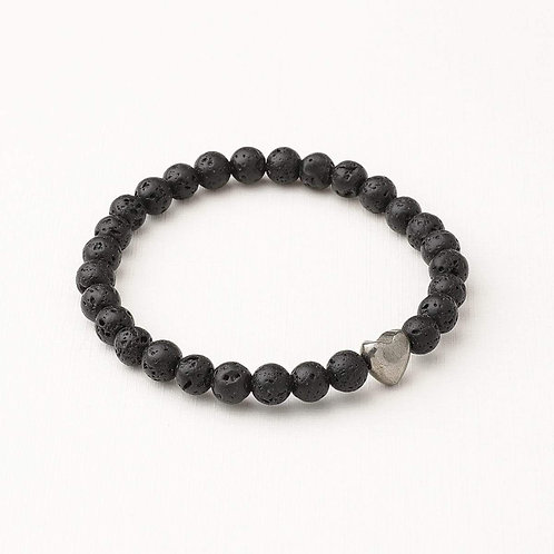 Heart and Lava Stone Diffuser Bracelet
