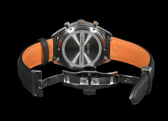 Bracelet MONTLHERY Cuir noir/orange