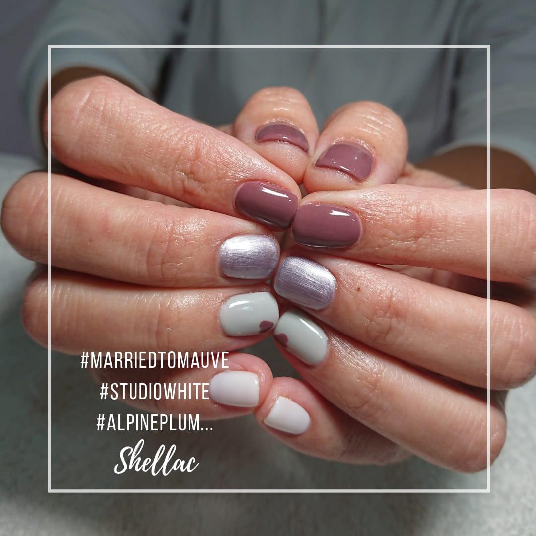 manicura shellac sempiermanente en diferente colores