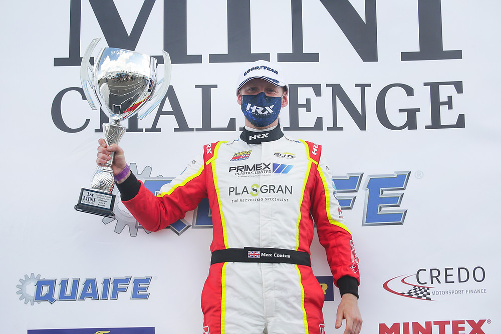 Max Coates won the LIVE televised race of the MINI CHALLENGE at Donington Park this weekend.