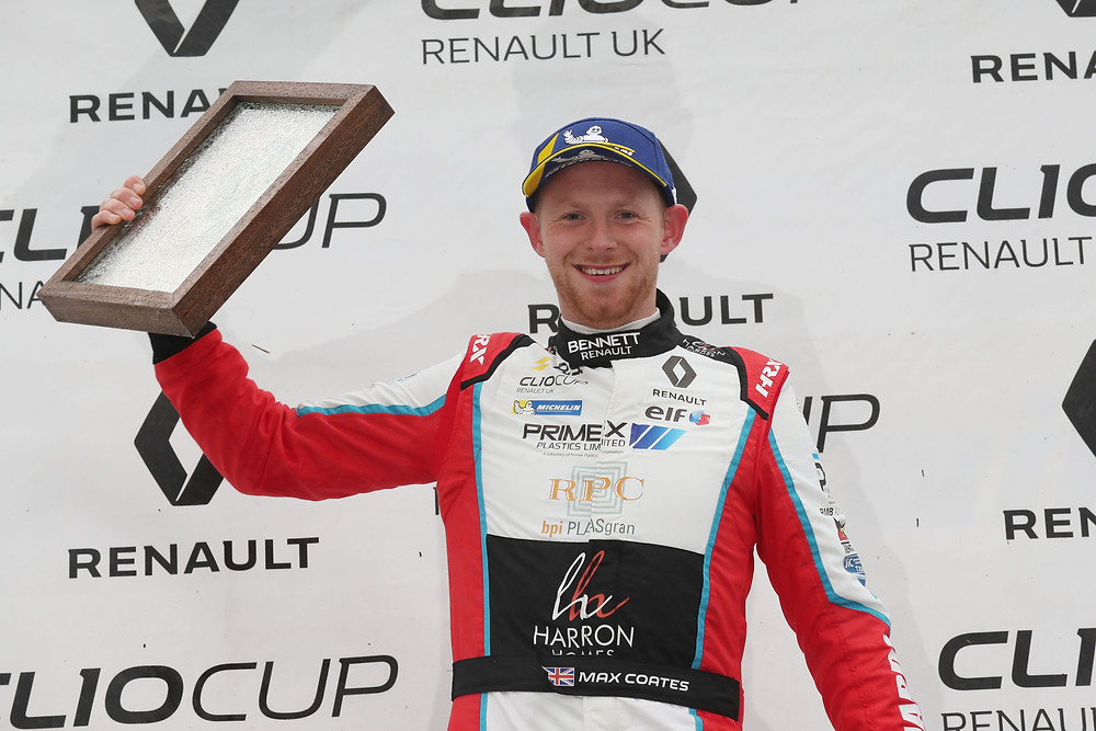 Max Coates on top of the podium - Clio Cup at Brands Hatch