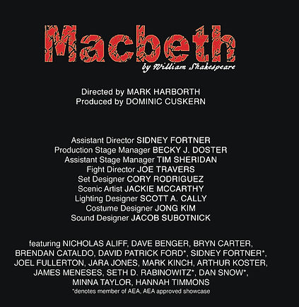 Staff and cast of Macbeth