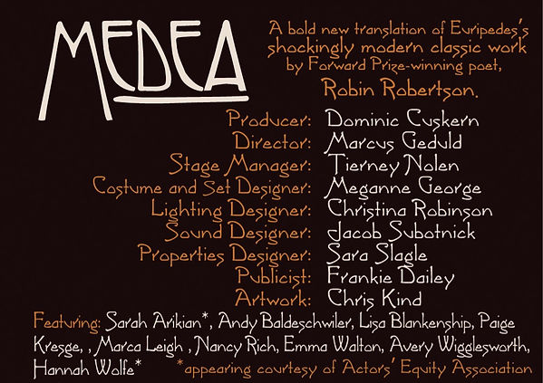 Staff and cast of Medea