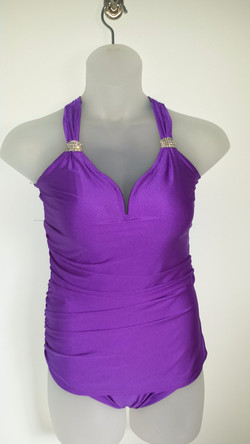 Purple suit with rouching & Bling