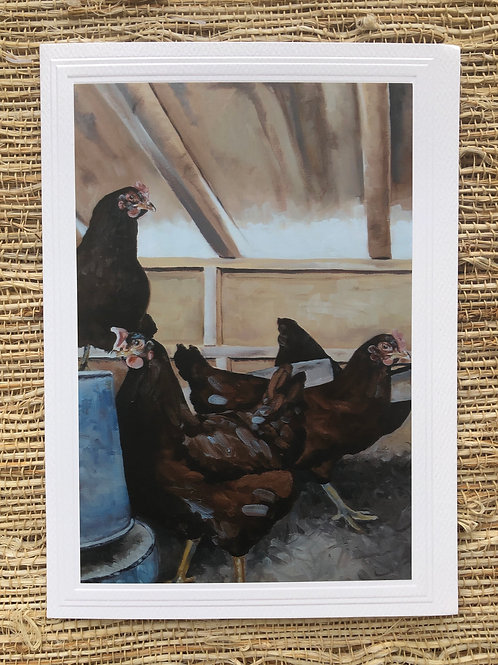 Hens in the Coop Art Card and Envelope