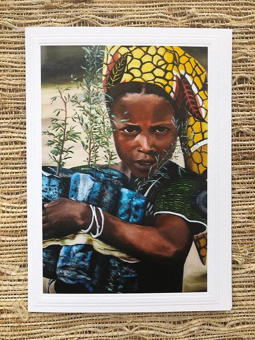 Sudanese Girl Art Card