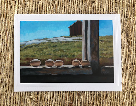 Eggs on the Sill Art Card and Envelope