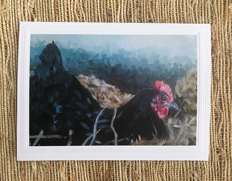 Black Chicken in the Hay Art Card and Envelope