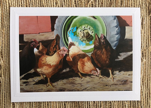 Hens Outside the Coop Art Card and Envelope