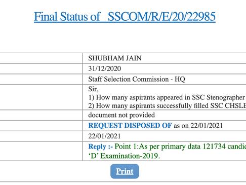SSC Stenographer 2019 Tier-1 Attendance