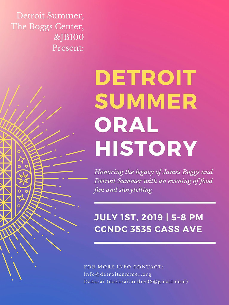 Detroit Summer, The Boggs Center, &JB100