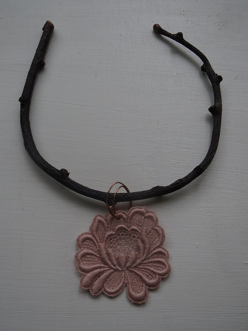 Twig neckless with vintage embroidery flower