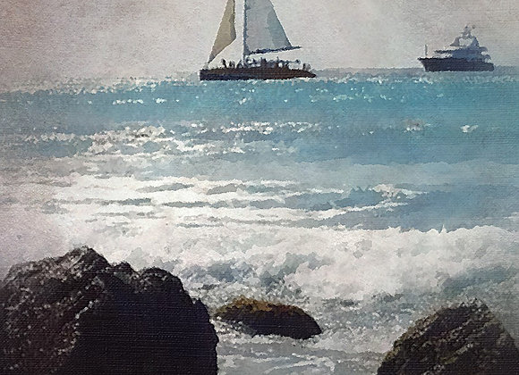 Party Boat from Shore Canvas