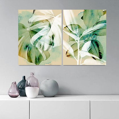 Watercolor Tropical Leaves Wall Art Posters and Prints  Canvas No Framed