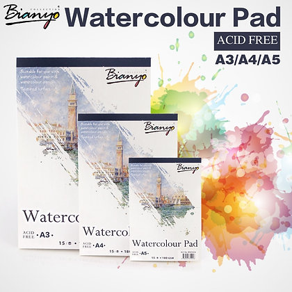 Bianyo A4/A5 Sketchbook for Artist Watercolor Paint, 15 Sheet