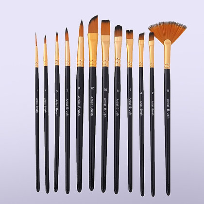 12PCS Oil Acrylic and Watercolor Paint Brush Set Multi-Model Mixed Hair