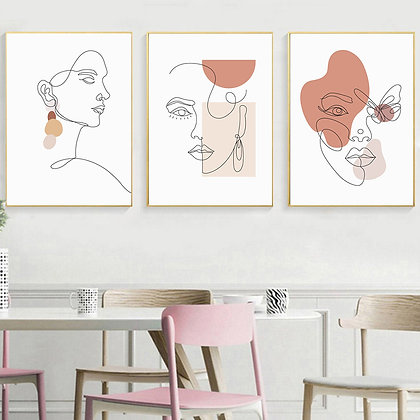 Line Art Woman Face Modern Minimalist Painting  Poster  Prints