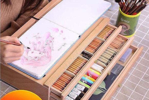 Beech Wood Easel Stand Desktop Set Oil Paint Sketch Colored Pencils Storage Box