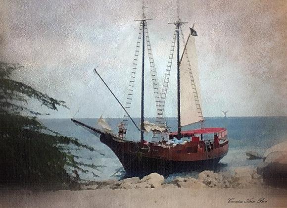 Jolly Pirate Ship Shore Docking Canvas
