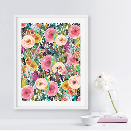 Flower Print Watercolor Floral Wall Canvas Painting