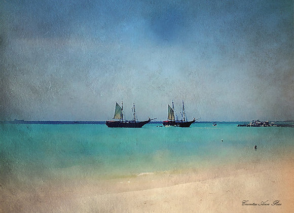 Two Ships Anchored Canvas