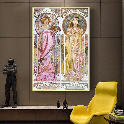 Alphonse Mucha Vintage Illustration Canvas Posters and Prints Art Nouveau