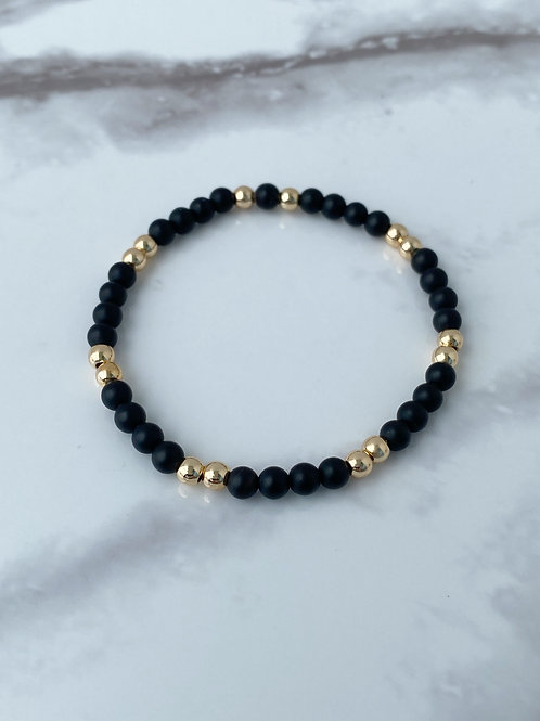 4mm Matte Black Onyx & 14k Gold Plated