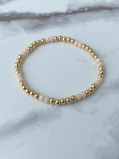 14k Gold Plated w/ Peach Crystal (4mm)