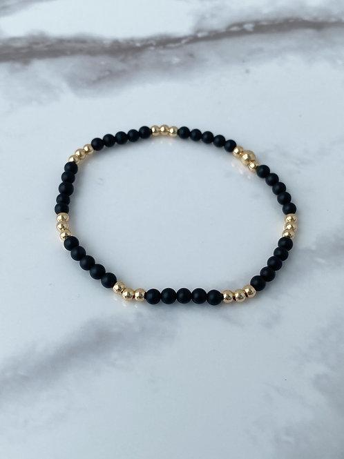 Matte Black Onyx & 14k Gold Plated (3mm)