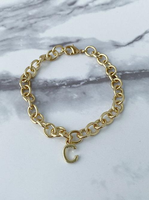 Gold Link Chain Letter Bracelet