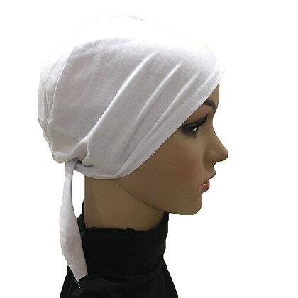 Plain white Tie On Bonnet