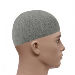 Knitted Vertical Line Prayer Hat - Grey