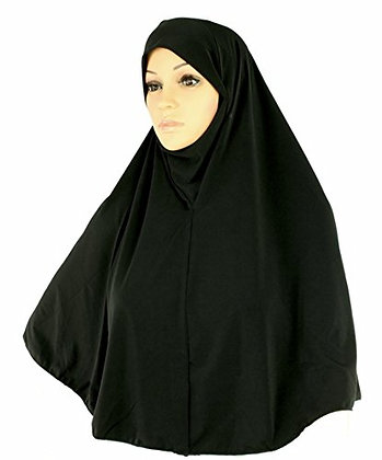 Plain One Piece Hijab Black (XLarge)