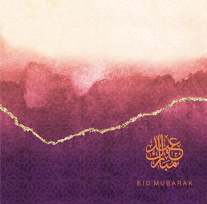 Eid Mubarak - Rose & Co Ombré - Gold Foiled - Burgundy RC 14