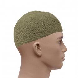 Knitted Vertical Line Prayer Hat - Olive