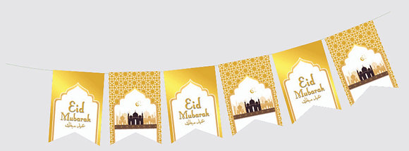 Eid Mubarak Party Flags (White & Gold)