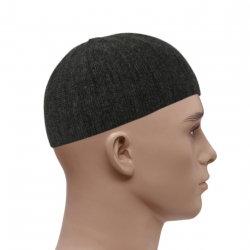 Knitted Vertical Line Prayer Hat - Dark Grey