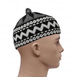 HAJI WOVEN PRAYER HAT - BLACK & WHITE