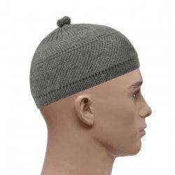 Woolly Style Topi Prayer Hat - Grey