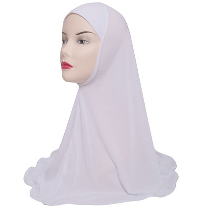 Plain One Piece Hijab - White (XLarge)