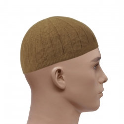 Knitted Vertical Line Prayer Hat - Light Brown