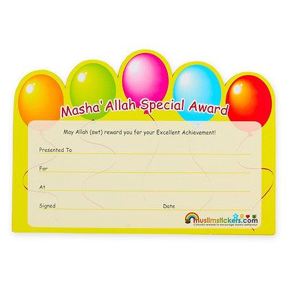 MASHALLAH SPECIAL AWARD CERTIFICATES